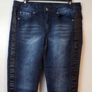 Royal Premium faux leather stripe jeans sz 8